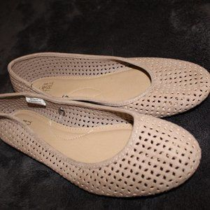 Beige perforated comfortable flats